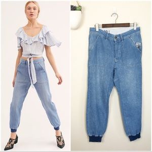 •FREE PEOPLE• NWOT Skye Linen Relaxed Jogger Jeans